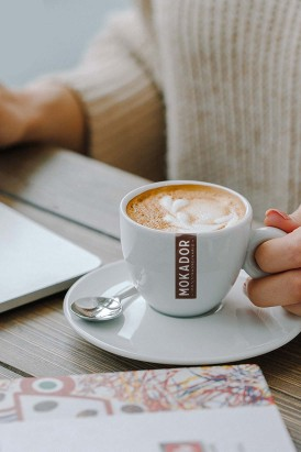 Porcelain cappuccino cup set  Mokador set of 6